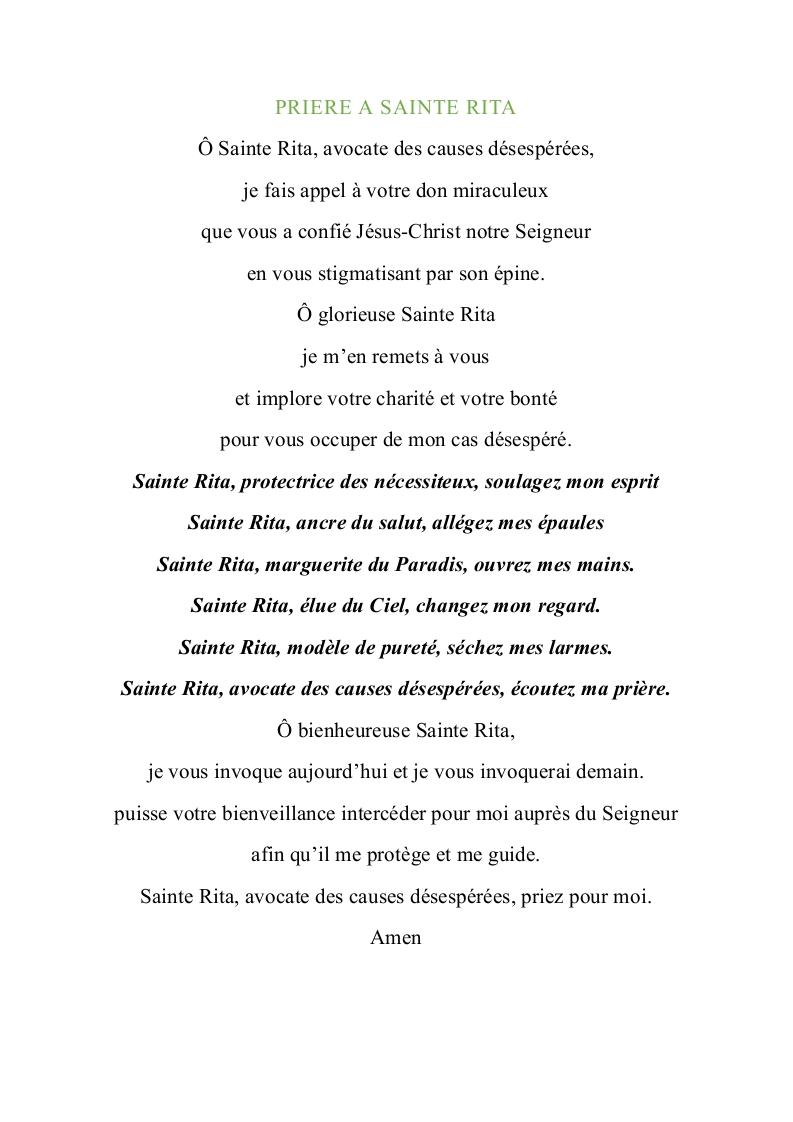 PRIERE A SAINTE RITA 2